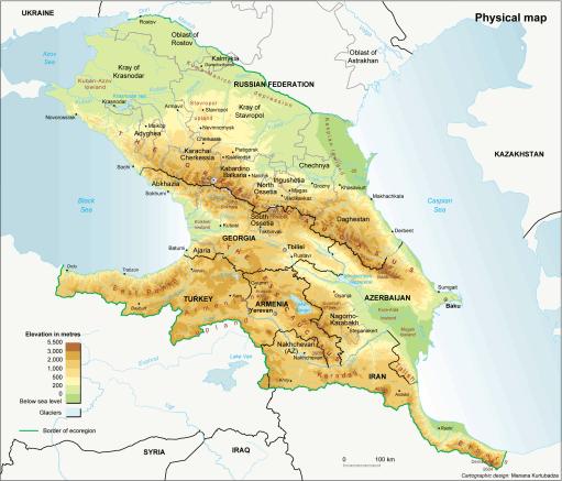 russia-caucaus map